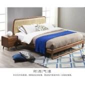 北欧现代简约乌金木纯实木床1.8米进口牛皮双人婚床实木卧室家具